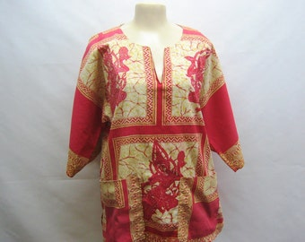 1970s Thai Cotton Print Shirt in Red and Gold