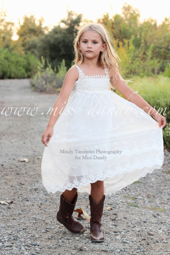 Jade Dress, *In Stock Ready To Ship!* Off-White Bohemian Boho Style Flower girl Lace & Crochet dress, Rustic Lace Flower Girl dress,Romantic