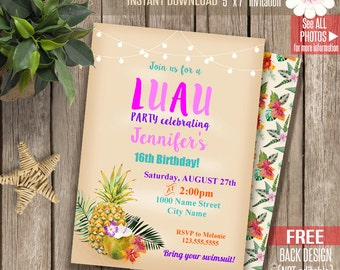 LUAU party invitation, Tropical birthday invite, Summer party, Printable Self Editable PDF File A155