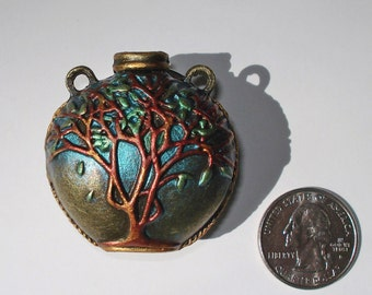 Hand Painted, 3D, Tree of Life Vase Pendant, Antique Bronze Metal Tone