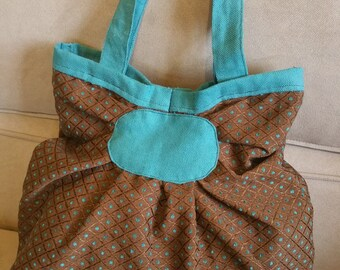 Turquoise/Brown fabric bag with handles