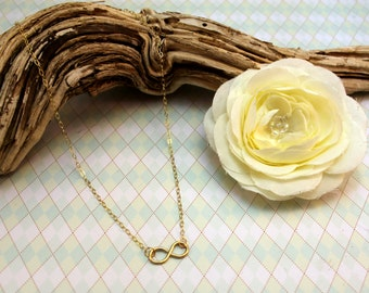 Gold Infinity Necklace ~ Infinity Pendant ~14k Gold Fill ~ Infinity Charm