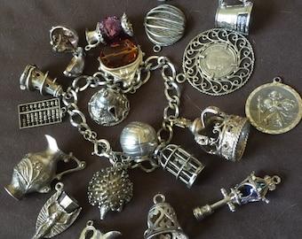 Vintage English Charm Bracelet Moveables