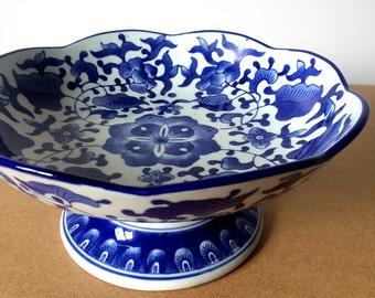 Vintage 1990's, Blue and White, Decorative Ceramic, Floral Print, Pedestal Plate, Cake Plate, Serving Dish