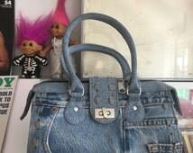 Denim Patchwork 90's Top Handle Bag