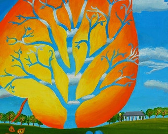 Surreal Dreamscape, Our Season's Winds, Acrylic painting. Hand Painted, Original Artwork.  Aspen Tree, Silhouette Landscape in the Park.