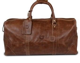 Leather Duffel Bag - Large- Custom Debossed
