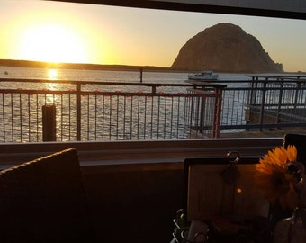 Dining with a view. . . and great food! Sunset at the Otter Rock Cafe Morro Bay, California