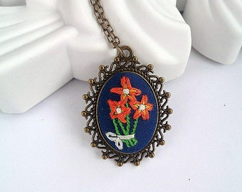 Flower necklace Embroidered necklace Long necklace Embroidered jewelry Personalized gift for her Long pendant necklace Mother day gift
