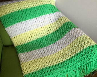Vintage Green Yellow White Crocheted Throw Blanket with Fringe/Retro Crocheted Blanket