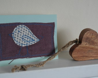 fabric bird greeting card