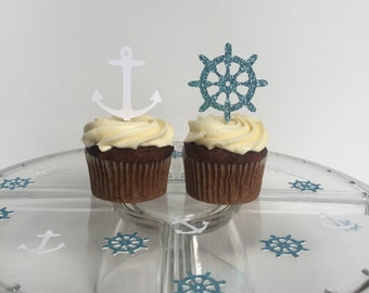 12 Nautical cupcake toppers | baby shower | wedding | nautical theme | birthday party