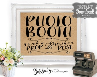 Photo Booth Poster - INSTANT DOWNLOAD - Wedding, Birthday, Party Art Printable Brown Paper Photobooth Sign - 3 sizes included