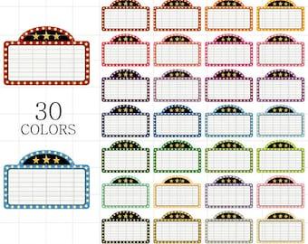 Movie Marquee Clipart, Movie Clipart, Movie Night Clipart, Date Night Clipart, Movie Marquee Clip Art, Movie Signage Clipart, Movie Signs