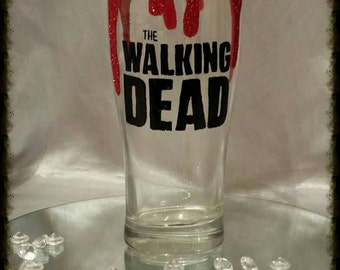 Hand painted and glittered walking dead glass