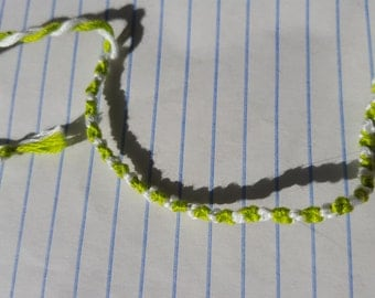 Simple Green and White Knotted Friendship Bracelet