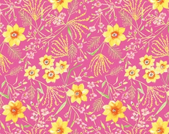 "Dena Designs Sunshine Collection Decorator Linen/Cotton Blend Fabric Jasmine in Pink 54/55"" Wide"