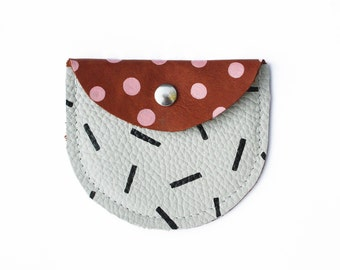 Polka pouch - handmade coin purse - real leather