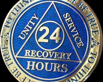 24 Hours AA Medallion Reflex Blue Gold Plated Alcoholics Anonymous Sobriety Chip