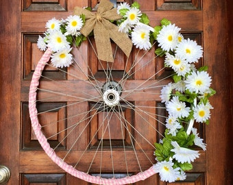 Rustic daisy bicycle wreath, floral door decor, upcyled home decor,