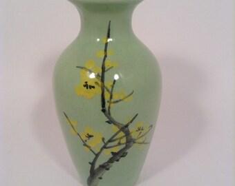Small green vase, forsythia flowers, Japanese pottery, chinese pottery, vase, green vase, hand painteb vase