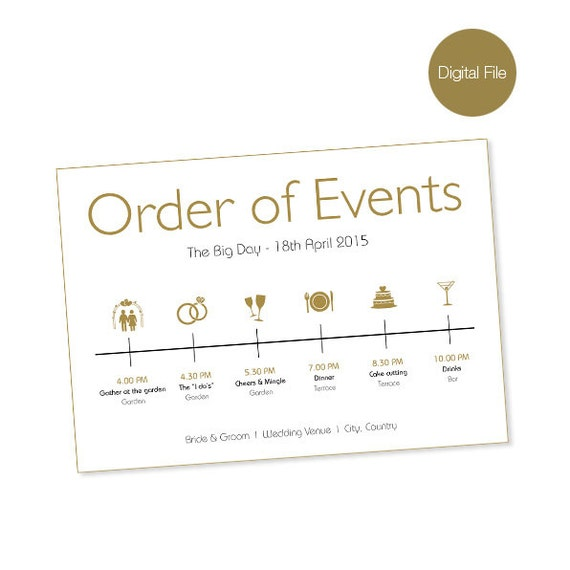 Wedding Order Of Events: Items Similar To Wedding Day