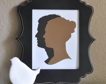 8x10 Layered Traditional Silhouette Portraits of Adult or Child's Profile; Choice of 23 Colors; Anniversary Gift; Wedding Gift; Parents