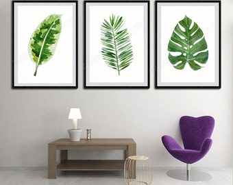 Tropical Leaf Watercolor Art Prints - Set of 3 Green Leaves Prints- Palm Leaf Botanical Art Wall Decor Office Decor Birthday Gift