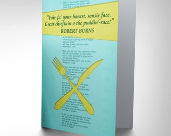 Scottish Card - Robert Burns To A Haggis Poem Art Blank Greeting Card CP1662