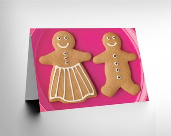 new gingerbread man woman romance love pink christmas food birthday card CL019