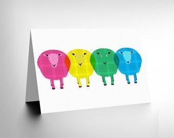 Sheep Card - Tartan Cute Birthday Friendship Scotland Art Greetings Card Cl1331