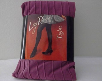 Vintage Leg Raves Ribbed Tights, Dark Lilac, One Size Fits All