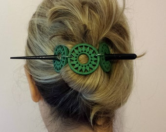 Blue Wood Hair Stick,Aqua Blue Hair slide, Easy to use Hair Accessories,Beach Hair Clip, boho Style, medium thick hair, gift for her