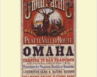 Union Pacific Vintage Train Poster US 1869 24x36 Travel Old Fashioned Rare