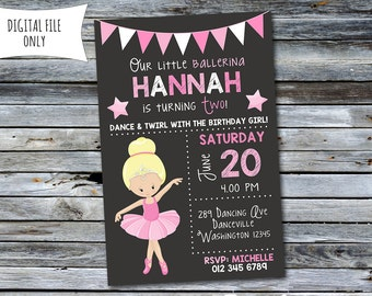 Ballerina Invitation / Ballerina Birthday Invitation / Ballet Invitation (Personalized) Digital Printable File
