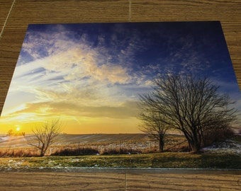 16x12 Iowa Sunset Canvas Print Initialed and Numbered