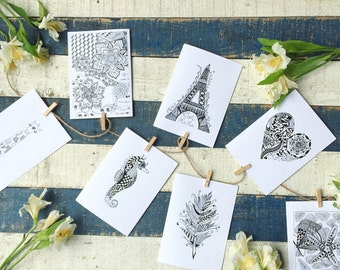 Hand Drawn, Blank, Zentangle Greeting Cards, 5x7
