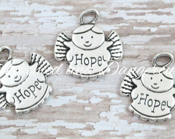 2 pewter Hope Angel charms (CM88)