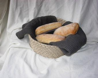 Crochet bread basket, crochet rope basket, storage basket, natural materials