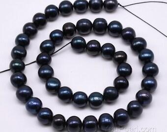 Black pearl 9-10mm, genuine fresh water pearls, dark black pearl beads, large hole 2mm, 2.5mm avaiable, loose pearl craft supplies, FP660-BS