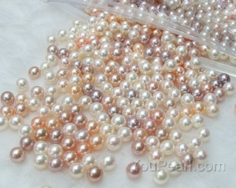 AAA 7.5-8mm round pearls, quality white pink mauve lavender multicolor freshwater round loose pearls, half-drilled hole pearls, FLR7580-M