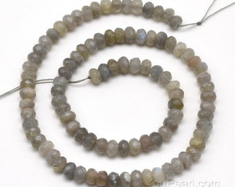 Labradorite beads, 4x6mm roundel faceted, natural labradorite beads strand, loose grey gemstone beads, A grade faceted stone beads, LBD1120