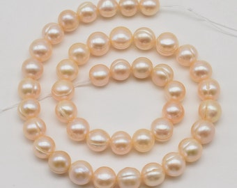 Natural pink pearls, 9-10mm fresh water pearl beads, potato circle pearl, drilled 0.7mm to 2.5mm big hole pearls, genuine pearls, FQ750-PS