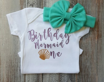 Birthday outfit, Baby girl clothes, Mermaid onesie, Onesie, First birthday, Baby girl, Baby clothes, Baby, Baby girl onesie, Onesies, Cute