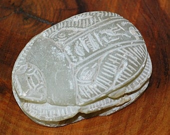 Egyptian Scarab Beetle With Hieroglyphics, Stone Paperweight, Vintage Carving