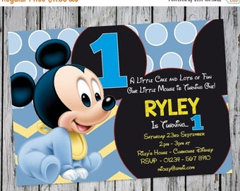 PERSONALIZED Baby Mickey Mouse Invitation, Baby Mickey Birthday Invitation, Mickey Mouse Clubhouse, Photo Invitation, Mickey Party Printable