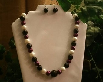Purple, Black, and White Necklace Set