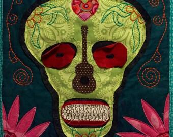 Sugar skull art quilt