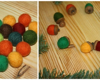 Cristmas decorations Felted wool acorns Acorn ornaments Set of 10 Christmas home decoration felted acorns natural decor autumn decor