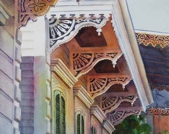 New Orleans French Quarter, Historic architecture gingerbread style watercolor print